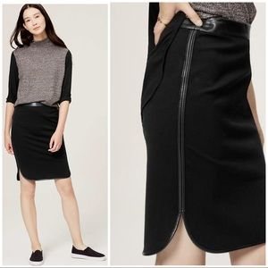 AT Loft Black Faux Leather Trim Shirttail Skirt